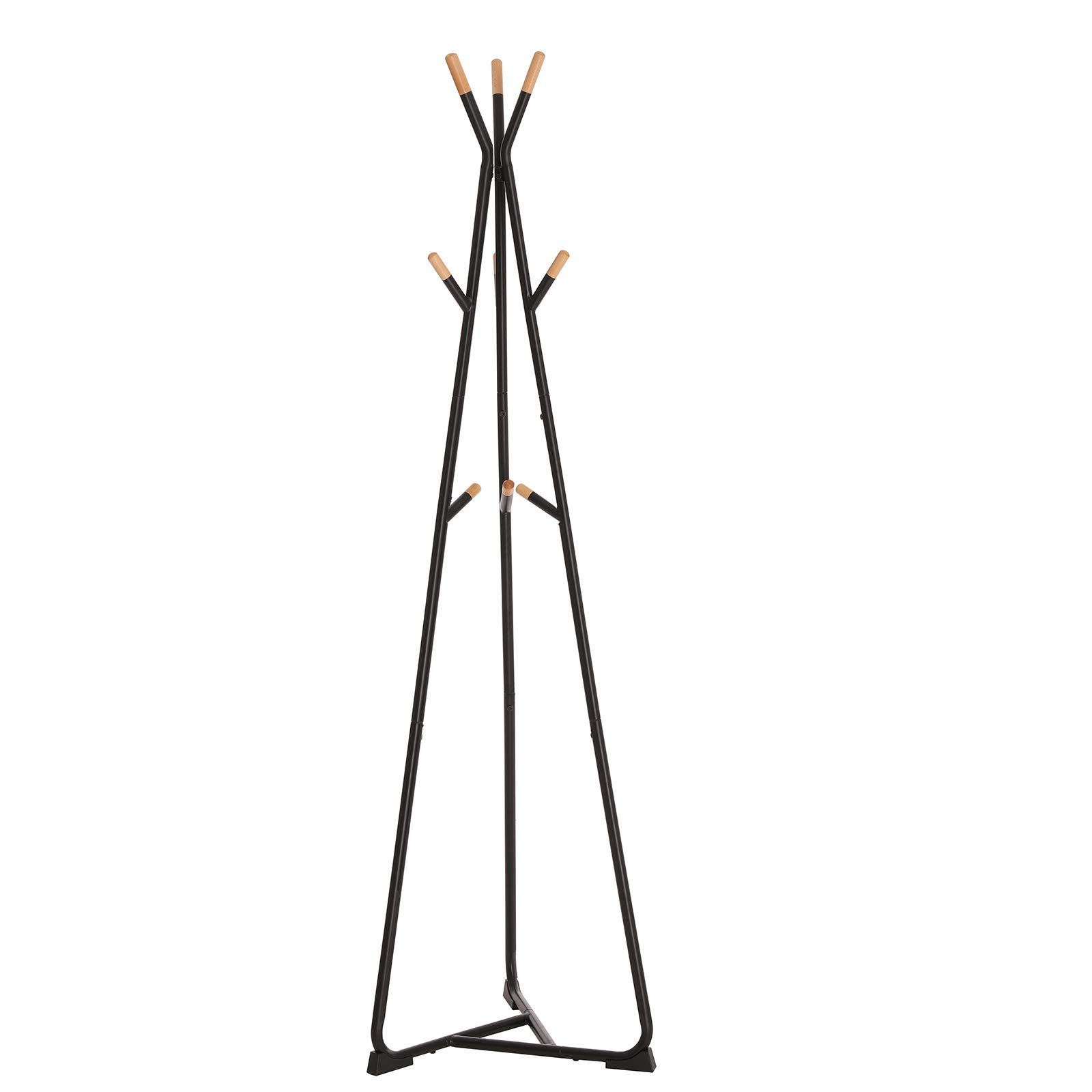 SONGMICS Coat Rack Stand, Coat Tree, Hall Tree Free Standing, with 9 Beech Wood Hooks, for Clothes, Hat, Bag, Black, Natural Grain, URCR15BY