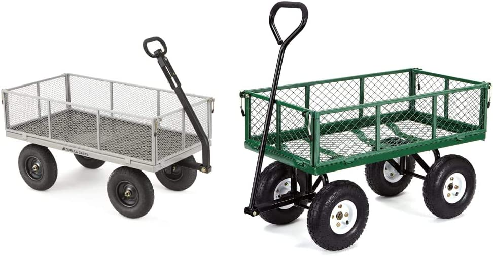 Gorilla Carts GOR1001-COM Heavy-Duty Steel Utility Cart with Removable Sides, 1000-lbs. Capacity, Gray & Carts GOR400-COM Steel Garden Cart with Removable Sides, 400-lbs. Capacity, Green