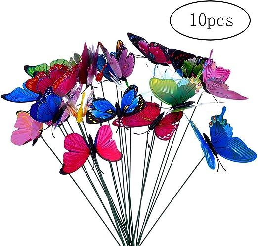 Deanyi Mariposa simulada en el palillo Colorido jardín de Las Mariposas de jardinería Flor de la decoración del Patio Adornos para la decoración de la Planta, al Aire Libre Patio 10Pcs: Amazon.es: