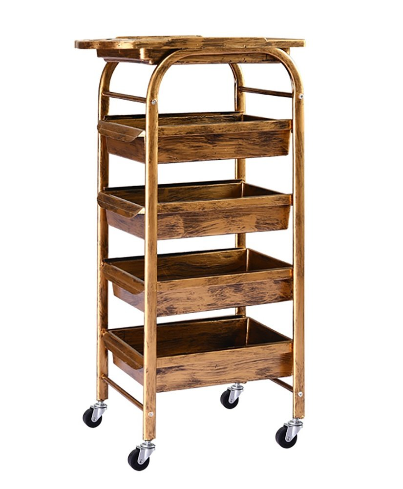 Salon Spa Golden Retro Hairdressing Trolley 5 Tiers Storage Cart Coloring Beauty Salon Hair Dryer Holder with 5 Drawers for Tool wexe.com