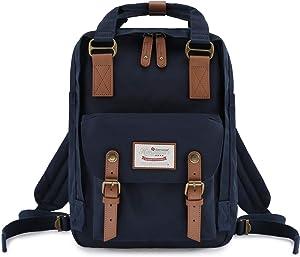 "Himawari School Functional Travel Waterproof Backpack Bag for Men & Women   14.9""x11.1""x5.9""   Holds 13-in Laptop (Dark Blue)"