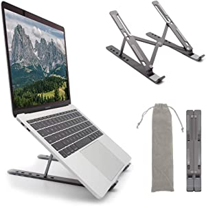 Laptop Stand, Adjustable Aluminum Laptop Tablet Stand, Foldable Laptop Riser, Portable Laptop Holder Compatible with 7-15.6 inches Laptop, Tablet, Notebook