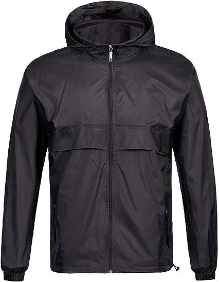 SWISSWELL Men's Rain Jacket Waterproof Windbreaker Lightweight Hooded Raincoat