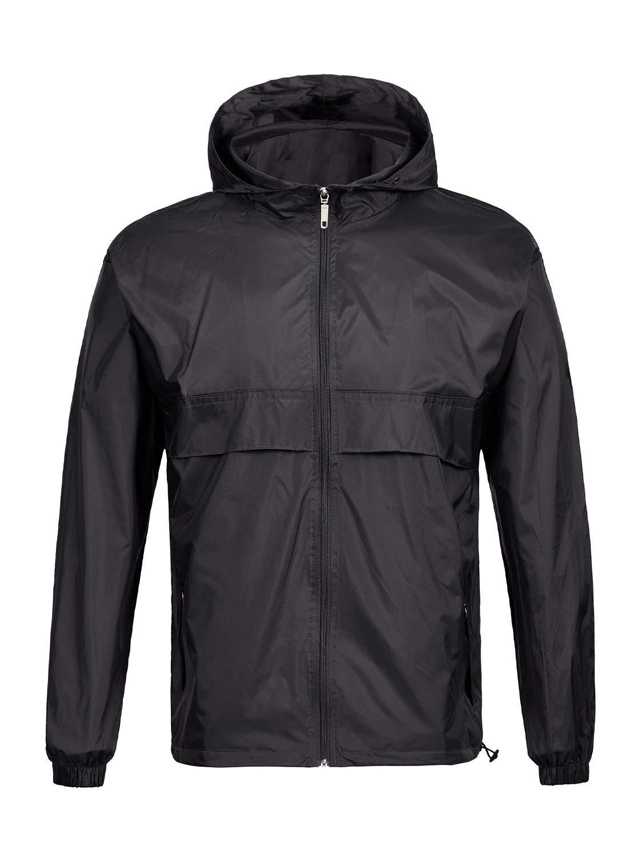 GEEK LIGHTING Rain Jacket for Men, Outdoor Zipper Waterproof Lightweight Raincoat Windbreaker with Hooded (Black, XXX-Large) by GEEK LIGHTING