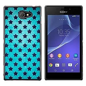 KOKO CASE / Sony Xperia M2 / cielo azul estrellas universo wallpaper negro / Delgado Negro Plástico caso cubierta Shell Armor Funda Case Cover