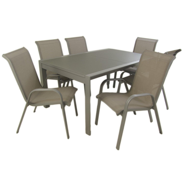 Conjunto para jardín Color Gris| Mesa Extensible 160/210 y 6 sillones apilables | Aluminio Reforzado | 6 plazas | Portes Gratis