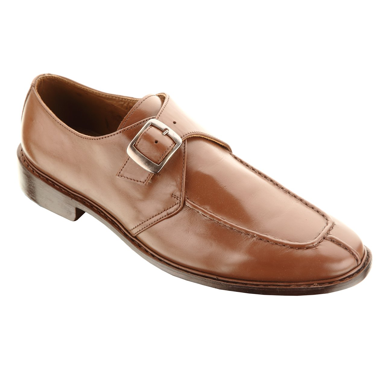 Handmade Damen Frost Alonti Mens Leather Dress Shoes with Single-buckle Strap, Color Brown, Size US11