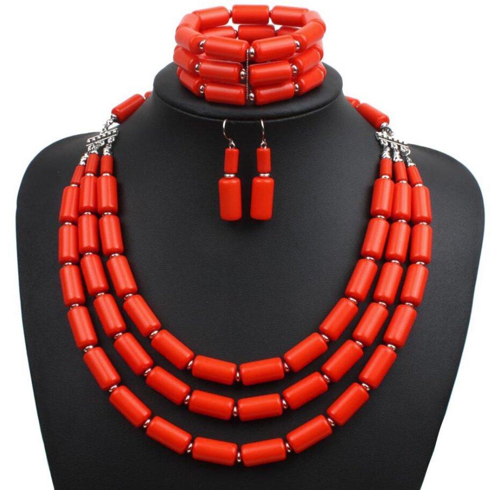 Lanue Fashion Handmade Bead Multilayer Statement Necklace Bracelet Earrings Jewelry Set (Orange)