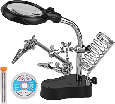 3X LED Magnifier Solder  Hand Soldering Iron Stand Holder Station Helping Tool