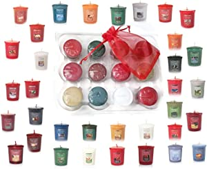 Yankee Candle Fall and Winter Votive Samplers in Storage Container Gift Box Plus Bonus Organza Sachet Bag - Autumn and Christmas Scent Bundle