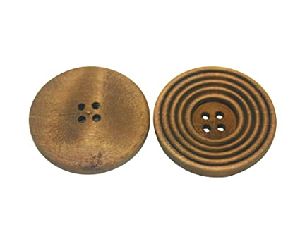 Amanaote Oval Shape Painted Wooden Button 39mm In Length with 2 Holes for Craft Sewing DIY Pack of 15