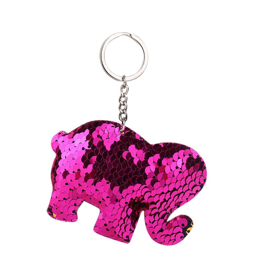 Sikye Metal Sequins Keychain Cute Animal Cartoon Key Ring Bag Wallet Xmas Tree Ornament Pendant Gift (14x10cm, Hot Pink (Elephant))