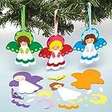 Kit per angeli natalizi decorativi con accessori intercambiabili da appendere per bambini, da creare e decorare - Attività creativa natalizia fai da te per bambini (confezione da 5)