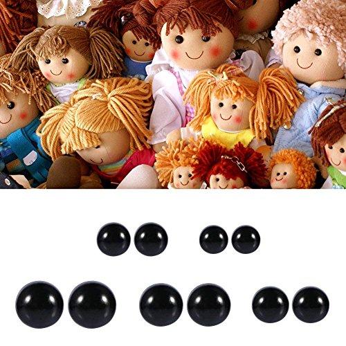 めいぐるみ目 人形アイ さし目 人形目 DIY手作り目 おもちゃ さし鼻 めいぐるみ テディベア 手作り ドールメイキング ブラック 6-12mm 100個入り
