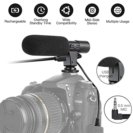 SmilePowo Micrófono de cámara Mic-01 3,5 mm Micrófono de grabación ...