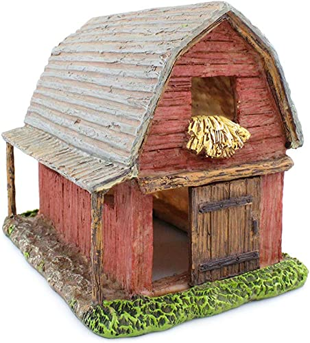 NW Wholesaler Fairy Garden Miniature Barn House with Working Door – 7 Inch Fairy Garden Home Detailed Fairy Garden House with Working Door