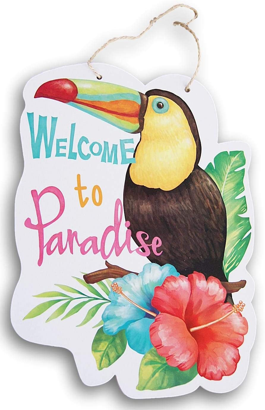 Summer Beach Sign - ''Welcome to Paradise'' Toucan - 13.5 x 9.5 Inches