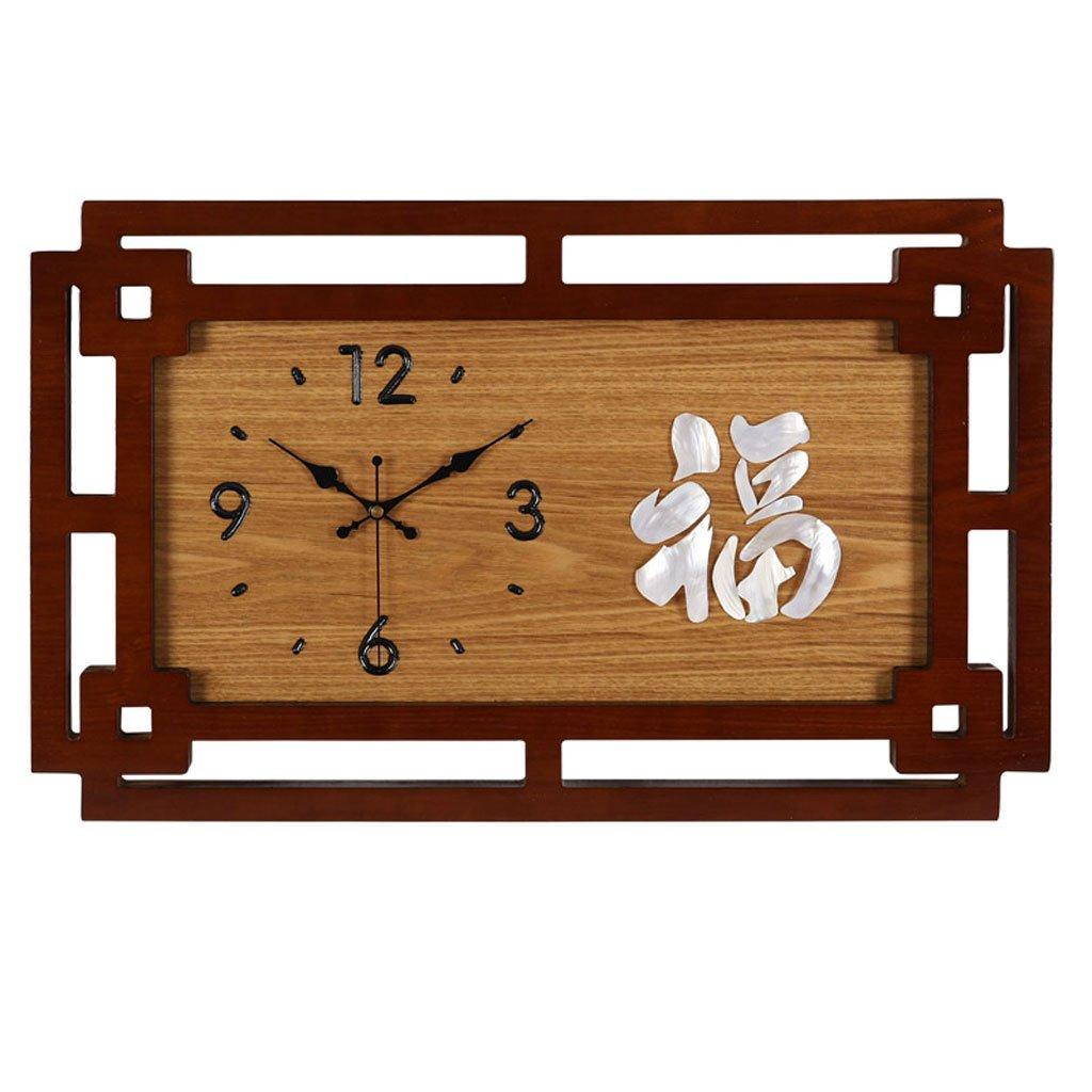 中国の木製の貝は壁時計を混ぜる (サイズ さいず : Horizontal) B07DHZJ5TNHorizontal
