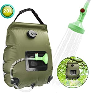 SANBLOGAN Solar Shower Bag,Camp Shower Bag,Solar Heating Bag Portable Outdoor,5 gallons/20L Camping Shower Bag with Removable Hose and On-Off Switchable Shower Head for Beach Swimming Traveling,Hiking
