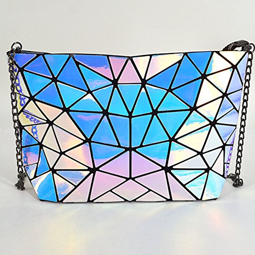 Leather Handbags Holographic Holographic Pu Satchel Shoulder Purse Chain Geometric AiSi Metal Bag Clutch q4xES6S