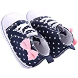 WAYLONGPLUS Infant Canvas Soft Sole Anti-Slip Prewalker Toddler Crib Shoes Love Print Sneaker (White Size 2)