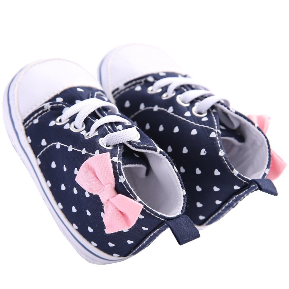 WAYLONGPLUS Infant Canvas Soft Sole Anti-Slip Prewalker Toddler Crib Shoes Love Print Sneaker (White Size 12) BBS26-WH12