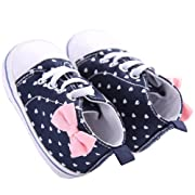 WAYLONGPLUS Infant Canvas Soft Sole Anti-Slip Prewalker Toddler Crib Shoes Love Print Sneaker (White Size 1)