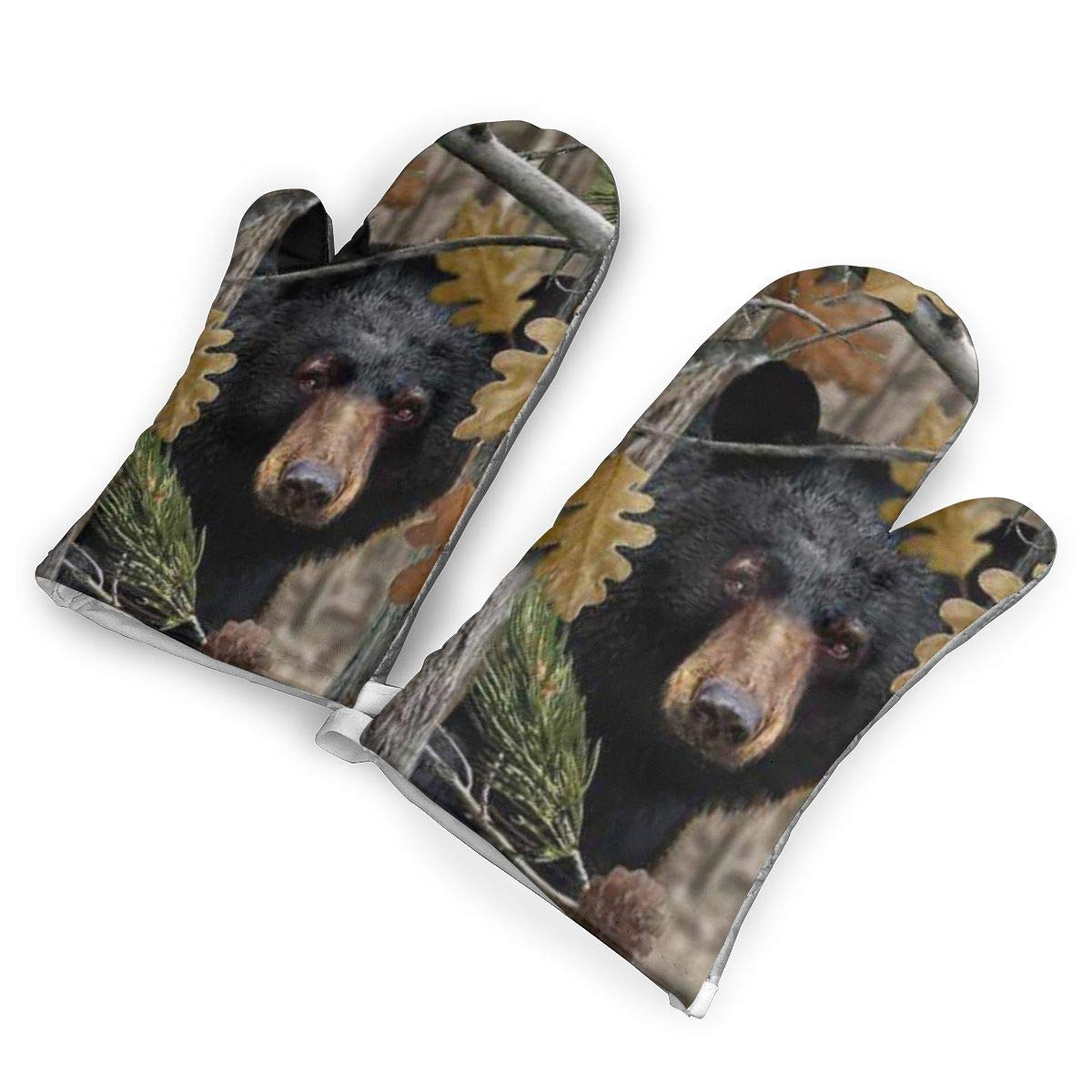 Feederm Camo Bear Oven Mitts,Professional Heat Resistant Microwave Oven Insulation Thickening Gloves Baking Pot Mittens Soft Inner Lining Kitchen Cooking