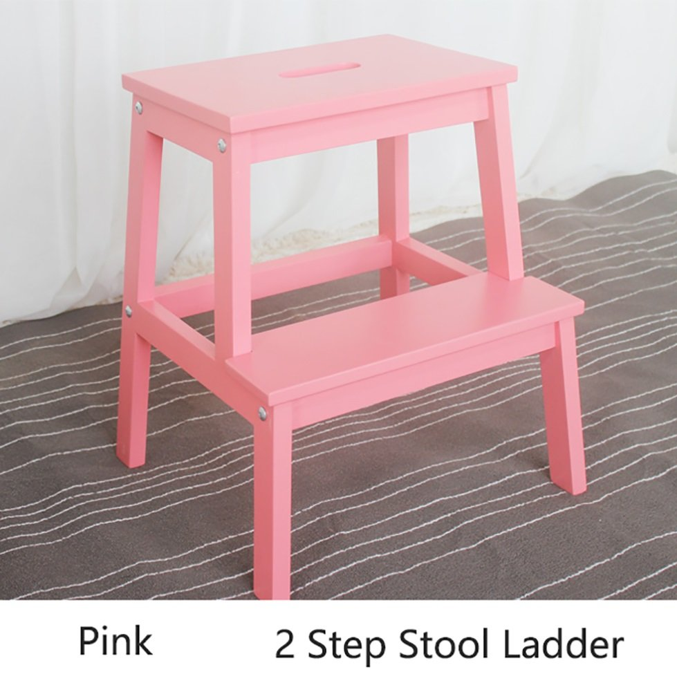 PINK Portable Wood Ladders Small Foot Stools Kitchen Wooden Step Stool for Adults & Kids Indoor Flower Rack Storage Shelf shoes Bench Strong and Sturdy (color   Yellow)