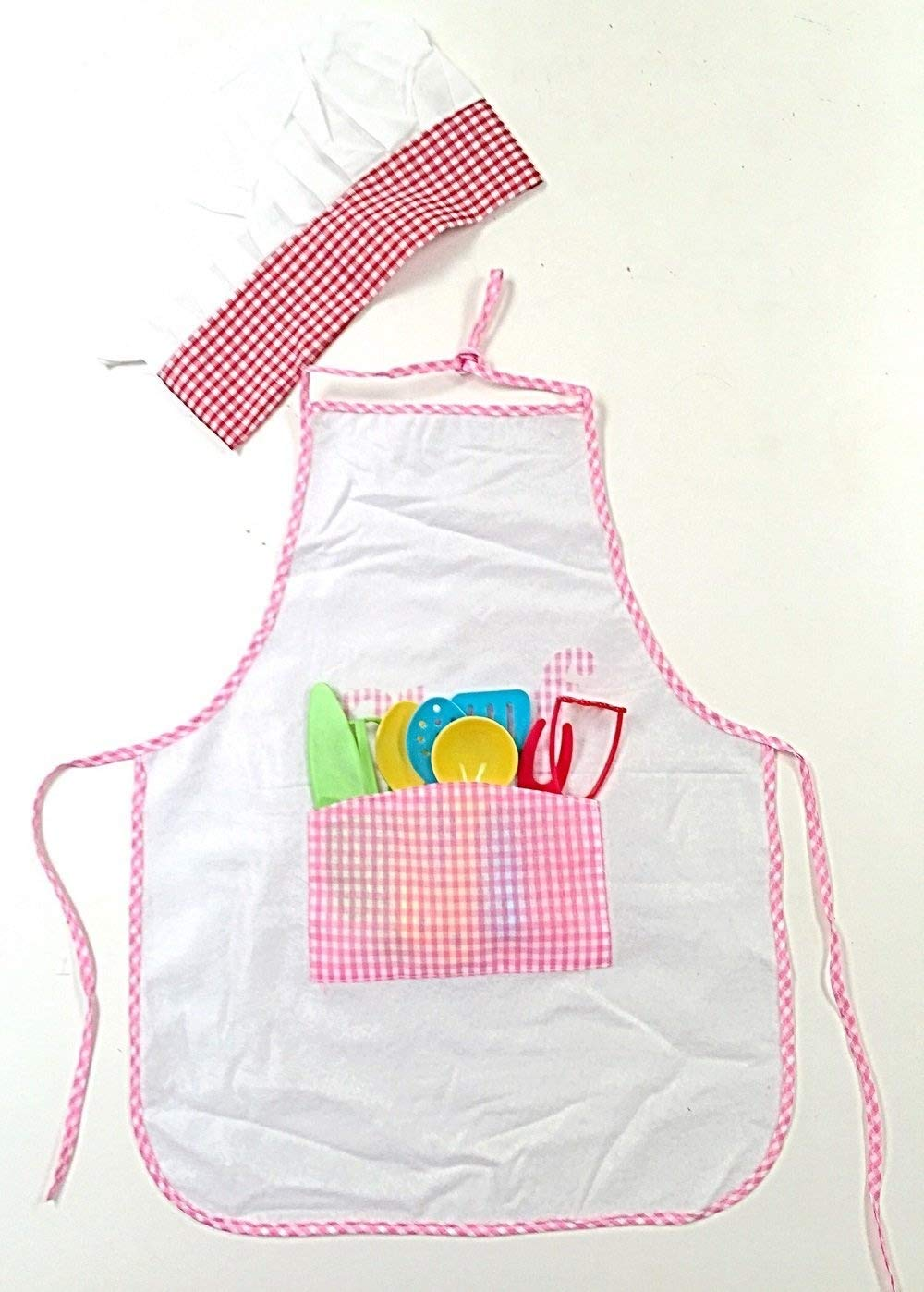 Littlest Chef Kids Apron with Chefs Hat and 8 Piece Cooking Utensil Set (Pink)