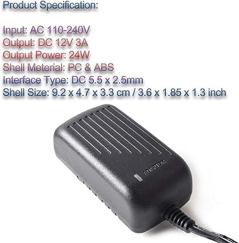12 V, 3 A, 36 W, 5,5 x 2,1 mm, 100-240 V ghfcffdghrdshdfh Adaptador de Corriente Universal