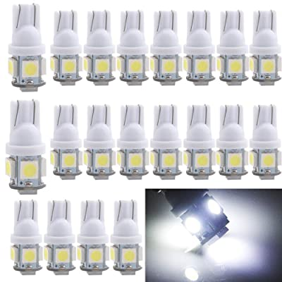 EverBright 20-Pack DC 24V White T10 194 168 2825 W5W 5050 5-SMD LED Bulb For Car Replacement Interior Lights Clearance Wedge Dome Trunk Dashboard Bulb License Plate Light Lamp: Automotive [5Bkhe0812424]