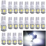 EverBright 20-Pack DC 24V White T10 194 168 2825 W5W 5050 5-SMD LED Bulb For Car Replacement Interior Lights Clearance Wedge Dome Trunk Dashboard Bulb License Plate Light Lamp
