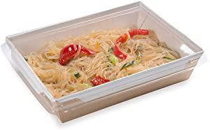 Cafe Vision 34 Ounce Take Out Food Containers, 200 Click Lock Disposable Lunch Box Containers - Clear Lids Sold Separately, Hot And Cold Dishes, Kraft Paper To Go Food Containers - Restaurantware