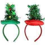 BESTOYARD 2 Stücke Weihnachtsbaum Hut Haarreif mit Stern Lametta und Kugeln Weihnachten Haarschmuck Kostüm Zubehör (rot und grün)