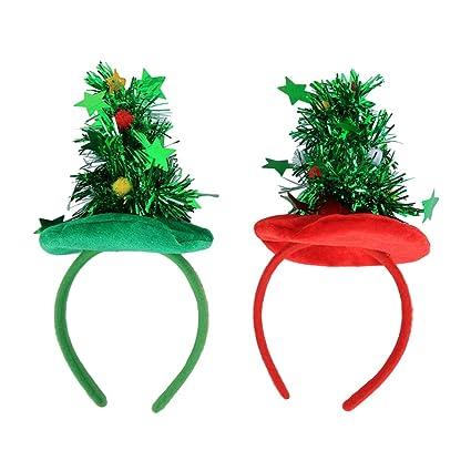 LUOEM 2 unids árbol de Navidad Diadema Fiesta de Vacaciones Diadema  Accesorio Navidad Tocado de Fiesta 8ac48d6d7c2