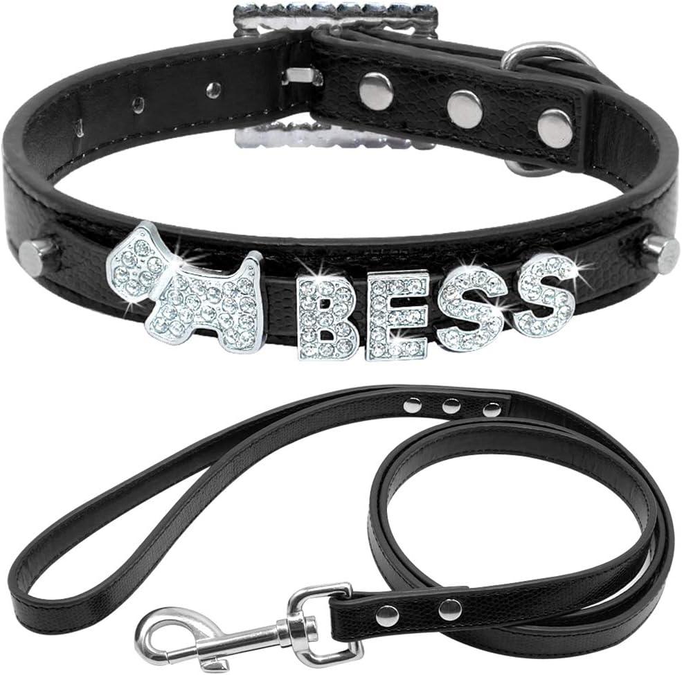 NOADream Collar de Perro de Cuero Personalizado Juego de Correas de Piel de Serpiente para Perro Mediano pequeño Collar de Diamantes de imitación de Cristal Personalizados