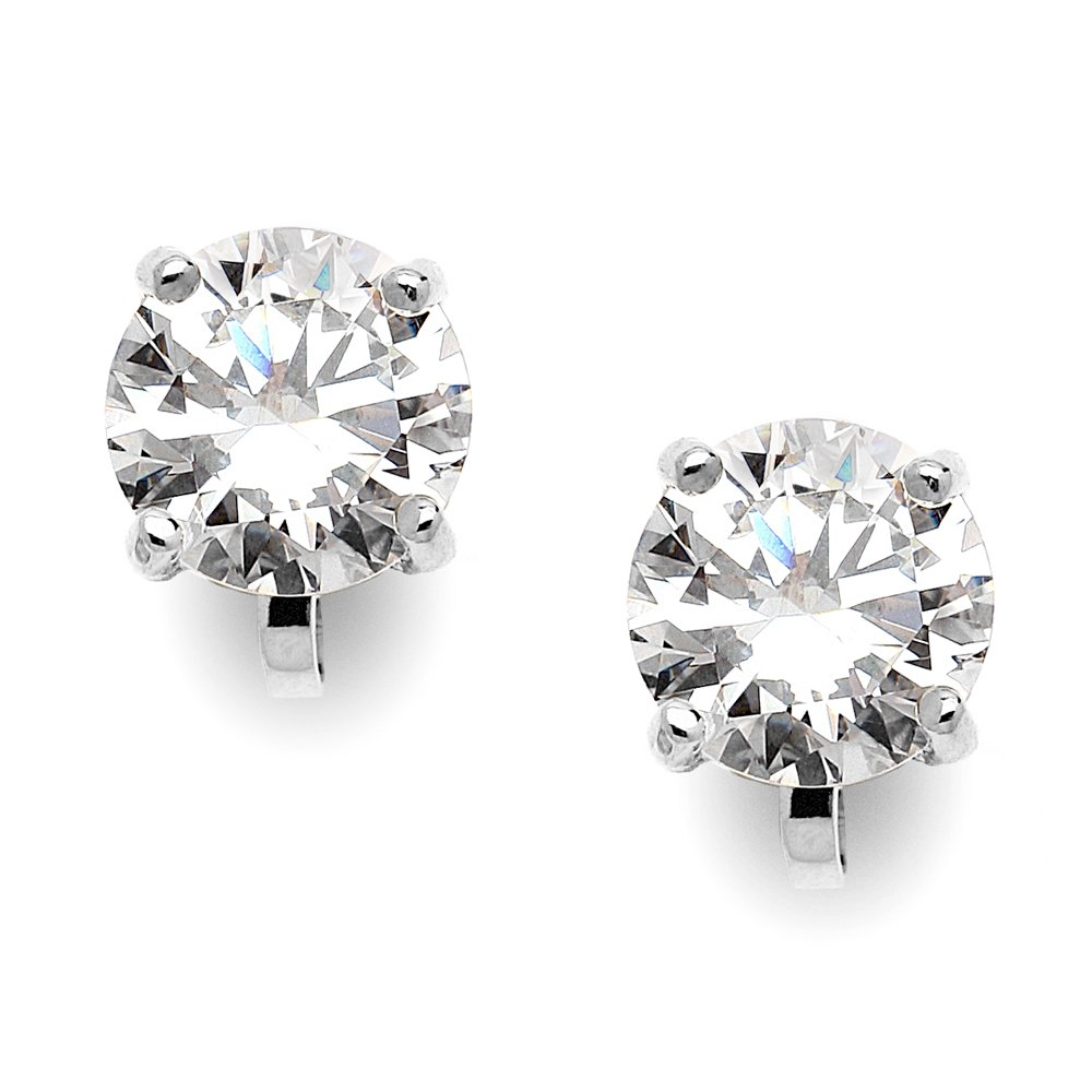 Mariell Silver Platinum-Plated 2 Carat CZ Clip-On Earrings - 8mm Round-Cut Solitaire Cubic Zirconia Studs