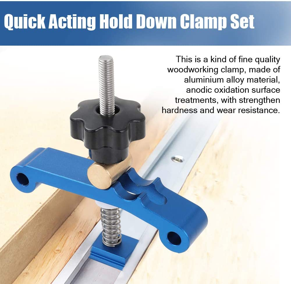 Aluminum Alloy Quick Acting Hold Down T-slot T-track Clamp Set Woodworking A2I0