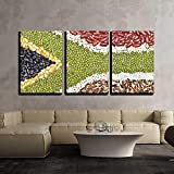 BABE MAPS 16''x24''x3 Panels Wall Decor Artwork Ready Hang Paintings Africa Flag Food on White Background Painting on Canvas Home Decorations