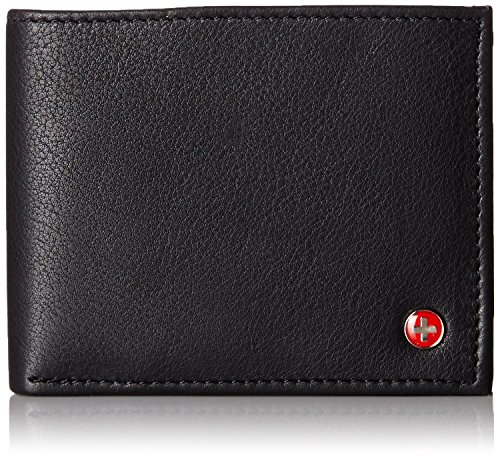 alpine swiss Alpine Swiss Men's Genuine Leather Wallet Slim Flip-out Bifold Black image