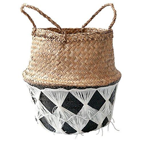 70bdff178 Black   White Textured Belly Basket - Panier En Osier Texturé