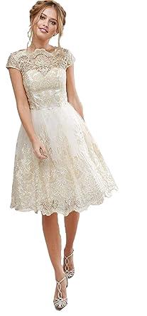 Womens Cocktail Dress Wedding Guest Lace Summer Dress Elegant Semi Party Dress Dresses Formal Dresses For Women Gold Size L