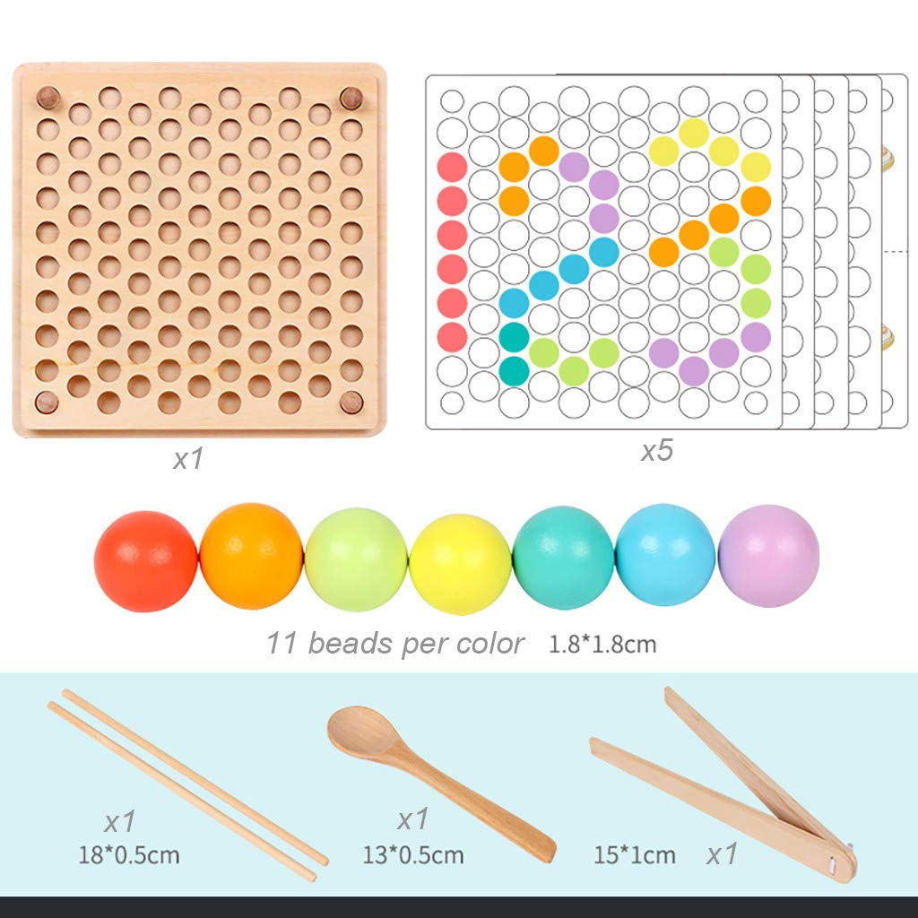 ℊeneral Toddler Game Color Classification Toy 77 Color Beads 5 Map Shape - Use Chopsticks / Spoon / Clip to Play Color Shape Matching Game by ℊeneral (Image #5)