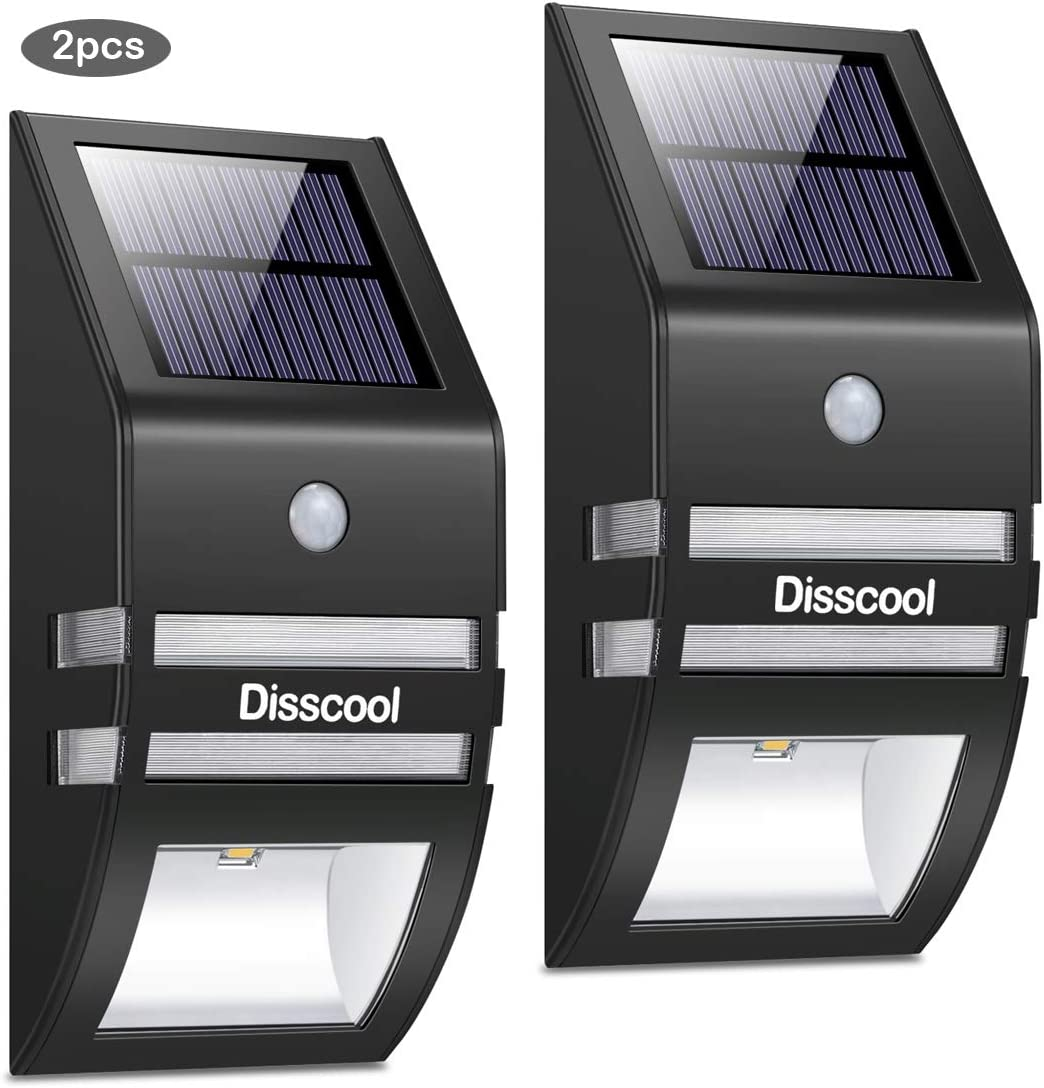 Disscool Solar Motion Sensor Lights Outdoor,Solar Wall Light with Warm Light for Fence Garden Yard Pathway Gutter Path Black, 2PCS