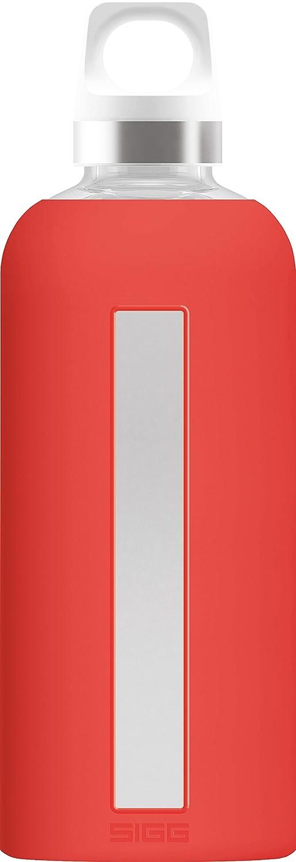 Senza BPA Scarlet /Borraccia in Vetro Sigg 8649.20/Star Borraccia in Vetro con Custodia in Silicone 0.5/L Vetro Rosso/ 7.3/x 7.3/x 22.1/cm Resistente al Calore
