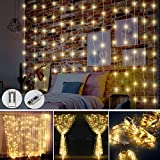 Juhefa Window Curtain Lights,USB Powered Fairy Lights String,8 Modes Christmas Lights for Bedroom Patio Wedding Holiday Halloween Party Wall Decor (300 LEDs Warm White,9.8x9.8Ft)