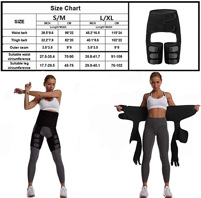 3 in 1 Body Shaper for Women Tummy Hip Thigh Waist Trimmer Neoprene Booty Lifter AuroTrends Waist Trainer for Women