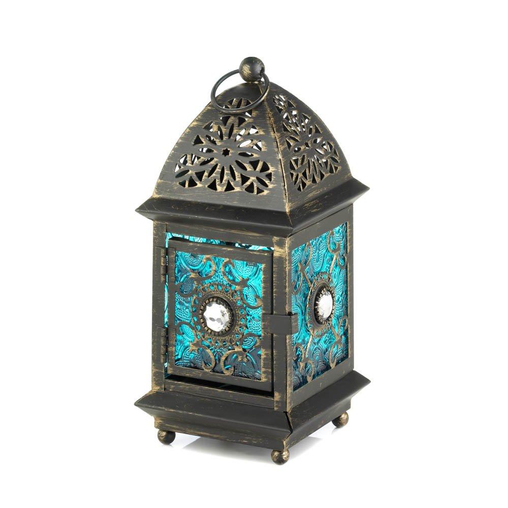 Koehler Home Decorative Accent Jeweled Blue Glass Lantern
