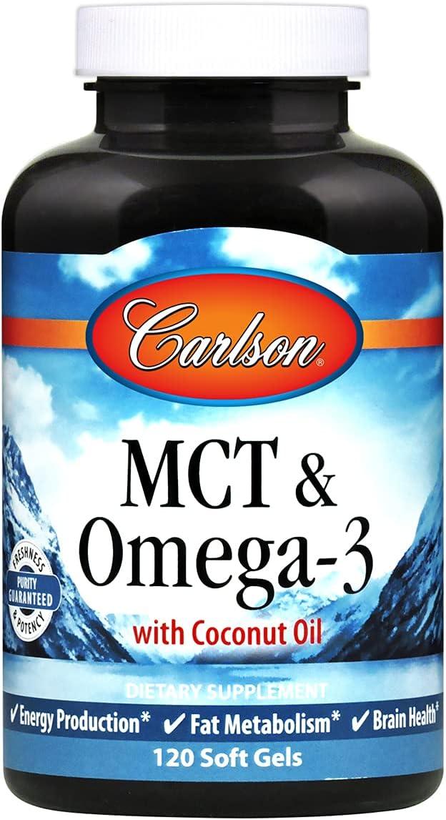 Carlson - MCT & Omega-3, Coconut Oil, Caprylic & Capric Acids, EPA & DHA, Energy Production, Fat Metabolism & Brain Health, 120 Softgels